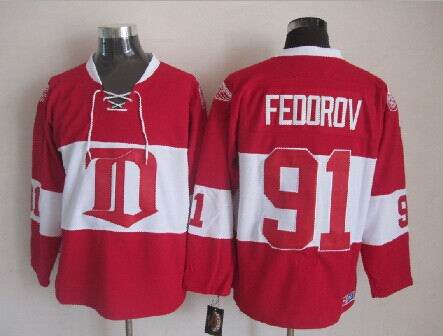 Factory Price Mens Detroit Red Wings Jerseys 91 Sergei Fedorov CCM Vintage  Ice ... 22ad19eab