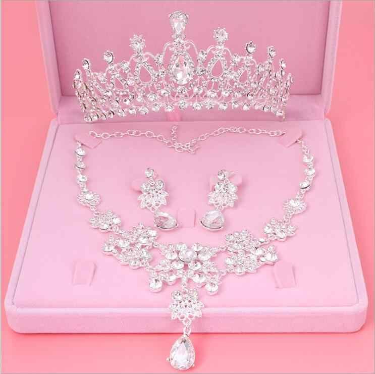 Womens Crystal Parel Sieraden Haar Kroon Hoofddeksel Ketting Hanger Oorbellen Sets