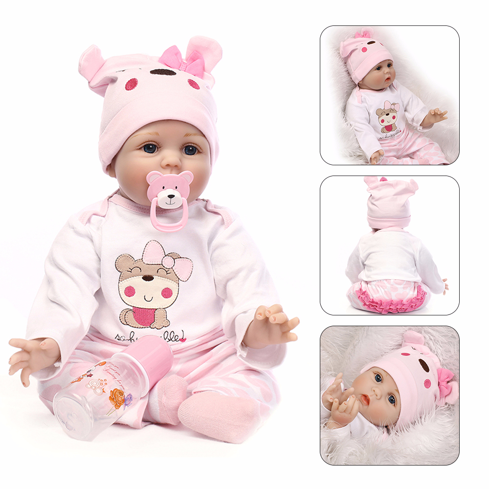 NPK Newborn Reborn Baby Dolls Silicone Cute Soft Babies Doll For Girls Kids Bebe Reborn Dolls With Magnetic Pacifier 55cm 2018 new arrivals 22 soft vinyl silicone baby doll reborn 55cm with magnet pacifier cute monkey plush toys for girls mini doll