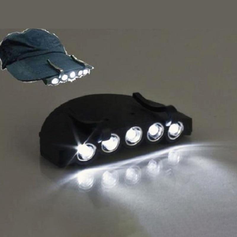 1 Stück Nacht Sicher Clip-auf 5 Leds Kopf Kappe/hut Krempe Licht Kopf Lampe Taschenlampe Angeln Camp Jagd Im Freien Beleuchtung