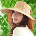Mujeres plegable de Sun del verano Floppy sombrero de paja de ala grande playa sombrero exterior UV protección parasol