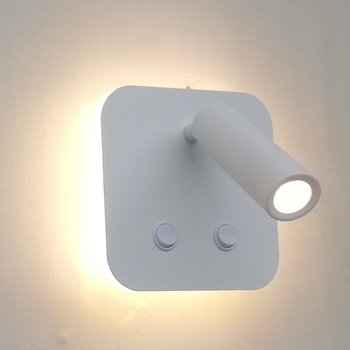 Topoch LED Wall Lamps Dual Switched Backlit 6W with Adjustable Reading Light 3W for Indoor Decaration 100-240V