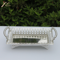 Free shipping luxury silver plated metal tray, hollow metal plate