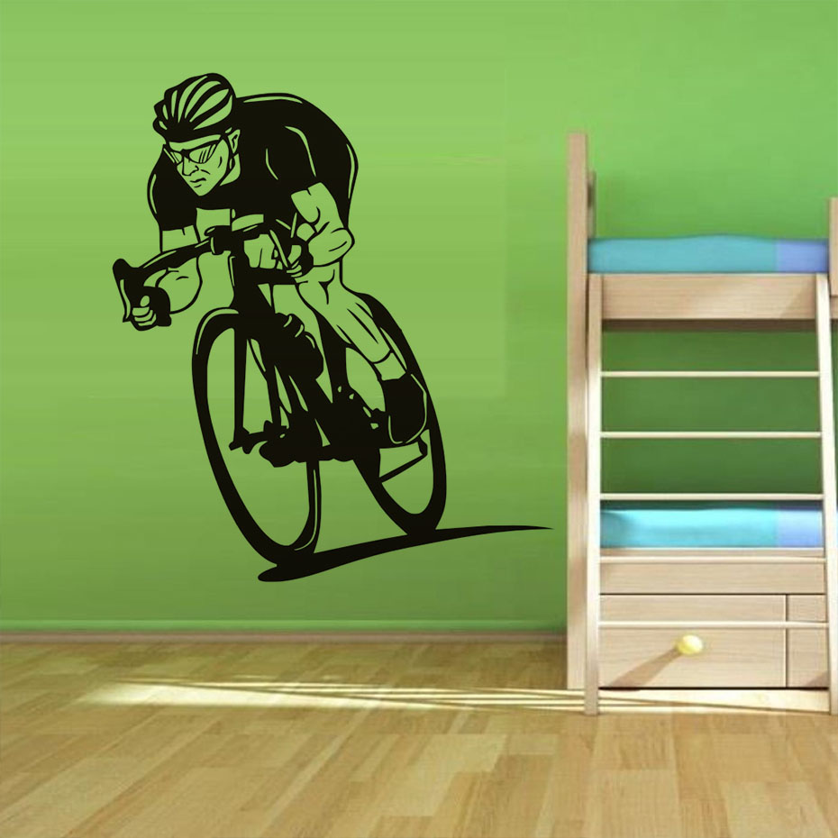 Cyclists Ride His Bike Vinyl Wall Stickers Interesting Cycle Competition Art Self Adhesive Decals Home Decor For Living Room ...