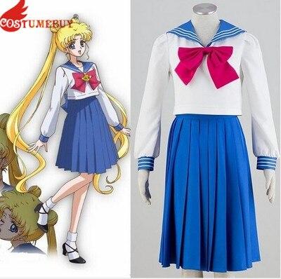 Costumebuy Sailor Moon Cosplay Navy Sailor School Uniform Performance Costumes Kawaii Halloween Cosplay costume Woman Dress
