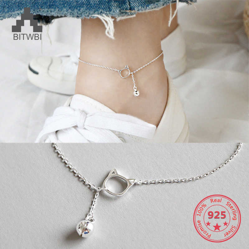 2019 Summer Footwear Simple Pop Cat Bracelet 24cm Real Jewelry 925 Sterling Silver Pop Charm Anklet Female