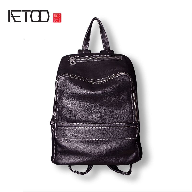 AETOO Shoulder bag female new large capacity first layer leather leather goods wild large backpack aetoo backpack female new retro shoulder bag hand large capacity leather bag simple wild