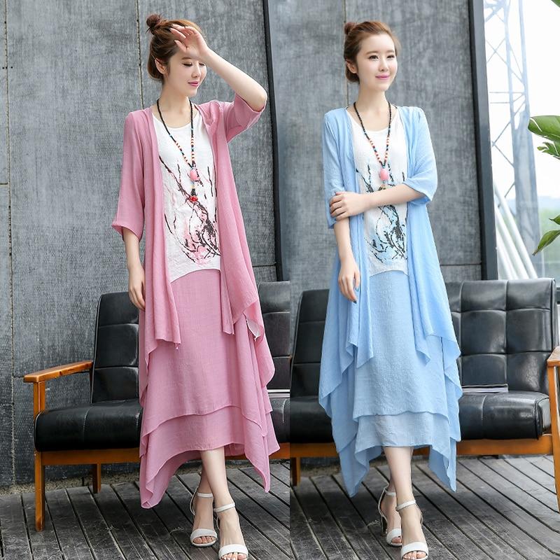 Spring Summer Women cotton linen dress+long shirt New outwear cardigan and flowers dress suits sets comfortable top quality 1