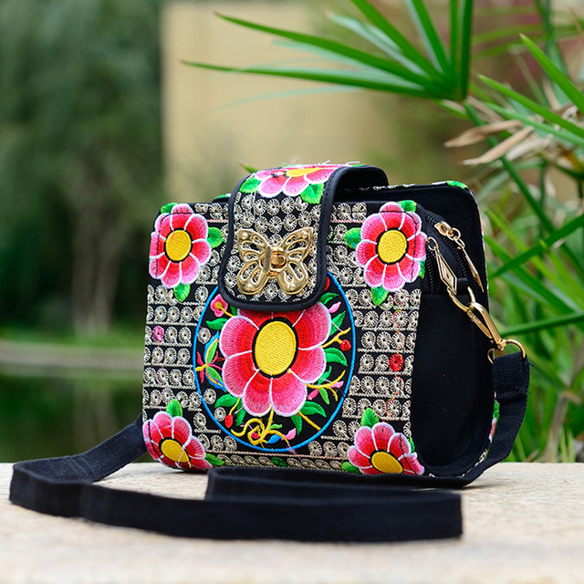 Women Sling Bag Ethnic Vintage Embroidered Canvas Cover Shoulder Messenger Bags 3