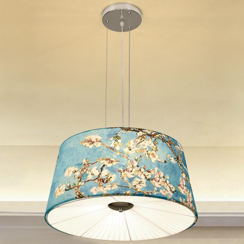 China Hand-painted Fabric LED Pendant Light Lantern Bedroom Lamp Study Archaic Hotel Teahouse Modern Home Lighting Pendant Lamps