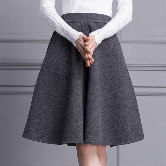 98d2c8353a Autumn Winter Woolen Skirts Women High Waist Casual Pleated Skirt Elastic  Waist Vintage Expansion Skirts Grey