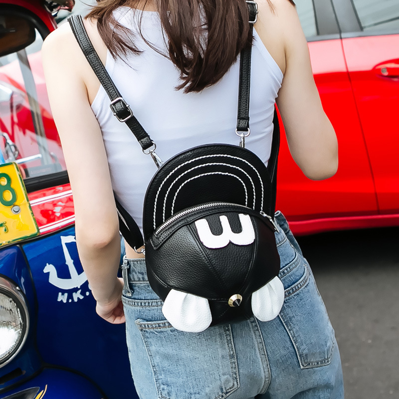 3D Mickey Minnie Ear Hat Shape Back Packs Personalized Cartoon Buns Shoulder Bag Punk Street Style Cool Girl Leather Small Packs