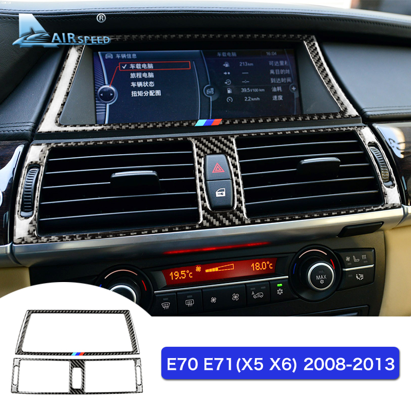 Airspeed Carbon Fiber Navigation Screen Frame Console Air Conditioner Outlet Trims for BMW E70 X5 E71 X6 Accessories Car Styling for bmw x5 e70 x6 e71 carbon fiber window lifter control frame window switch decor armrest panel trim car interior accessories