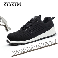 ZYYZYM Men Working Safety Boots Plus Size 36-46 Steel Toe Indestructible Sneakers Protective Puncture Proof Shoes For