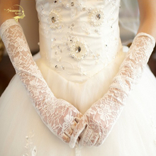 Wedding-Gloves Lace Ivory White Long Cheap Finger Elbow with Red G015