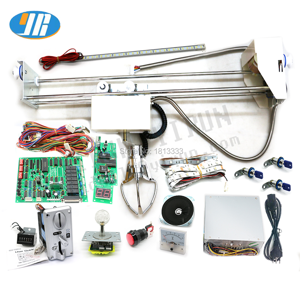 Classic Toy Crane Game Machine DIY Kit With Claw Game Board,Display ,Wire Harness,Power Supply,Led Joystick,Coin Acceptor