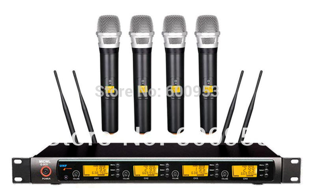 G900H Professional 4x100 Channel UHF Wireless 4 Handheld Microphone System