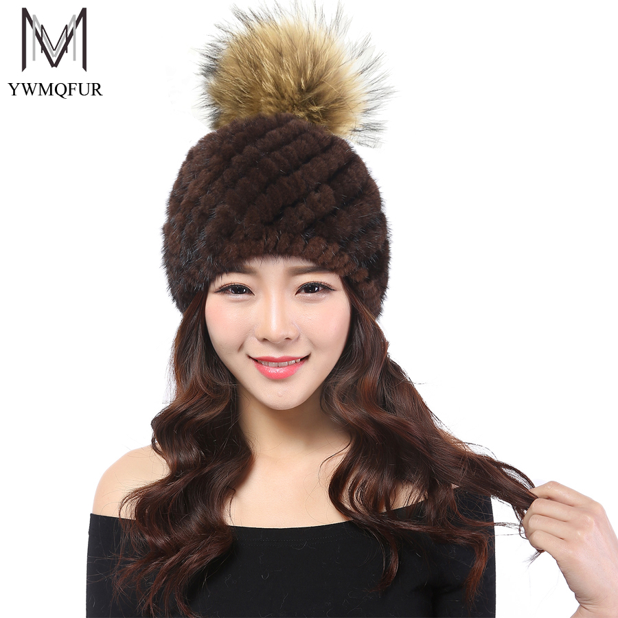 YWMQFUR 2017 New fashion natual real mink fur hat for women winter knitted mink fur beanies cap with Raccoon fur pom poms H53