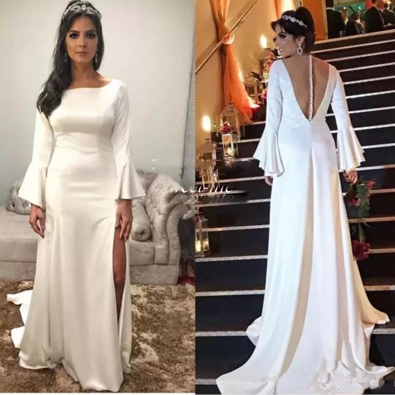 Sxey Side Split Long Sleeves Wedding Dresses Satin Formal Party Dresses Sheer Back Covered Buttons Bridal Gown wedding gown