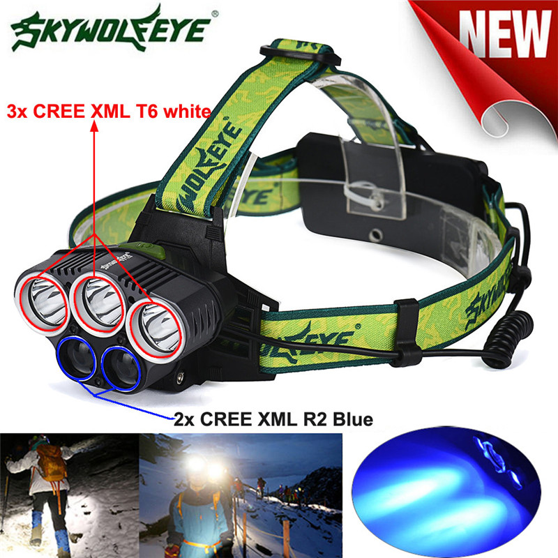 Cycling Bike Head Front Light Bicycle Light 3x XM-L White+2x R2 Blue LED 18650 Headlamp Headlight Torch Flashlight Lamp M1 18000 lumens bike headlamp flashlight 9x cree xm l2 led bicycle light cycling helmet headlight 18650 battery pack charger