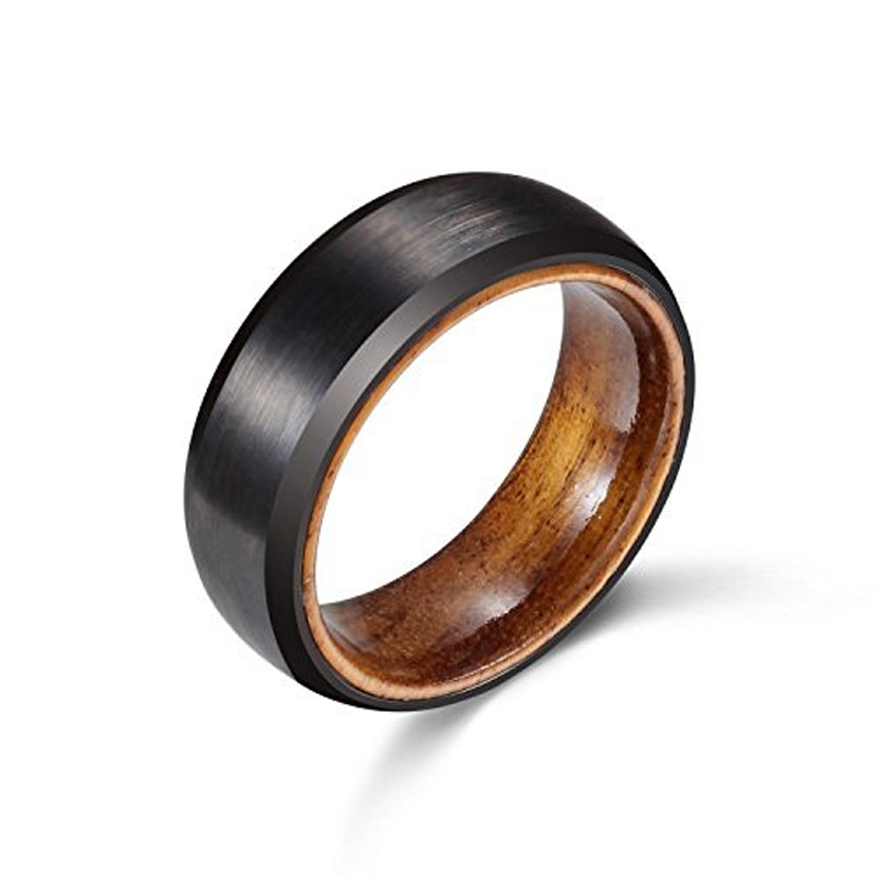 New Arrival 8mm Black Tones Men's Tungsten Carbide Ring Brushed Finished Wedding Band with Nature Wood Inner Comfort Fit 6-13 black tungsten carbide with dark wood inlay mens wedding ring
