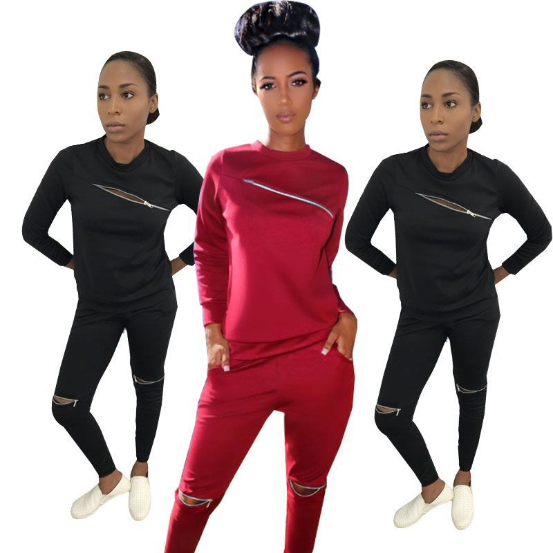 Women's Clothing Sunny Black Red Sexy Two Pieces Overalls For Women Long Sleeve Slim Fit Bodysuit Sexy Casual Body Femme Lyx9051