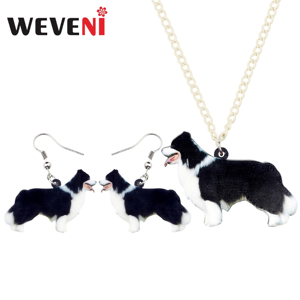 WEVENI Earrings Necklace Dog-Jewelry-Sets Collie Acrylic Border Girls Women Gift-Decoration