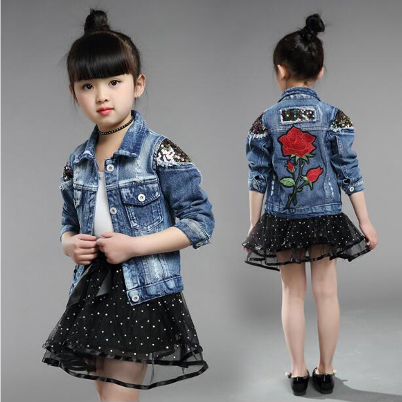 2019 Fashion Child Outwear Embroidery Sequins Children Girls Denim Jacket 2-9Yrs Girls Coat Kids Spring Cardigan Rose Clothes spring outfits for kids