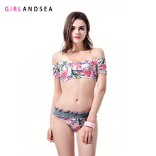 GIRLANDSEA New 2019 Low-waisted Bikini Set Printed Swimsuit