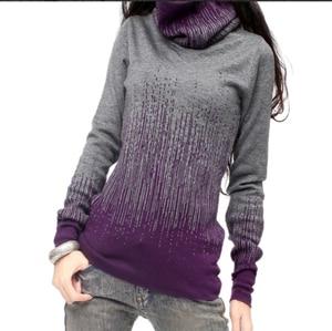 Image 3 - Pull en cachemire pour femmes, Vintage, noir, bleu, pull épais à col roulé, hiver, pull chaud