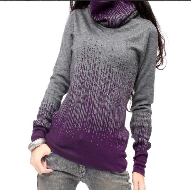 Suéter de cachemir Vintage negro gradiente para mujer suéteres gruesos de cuello alto de invierno y jerseys calientes para mujer