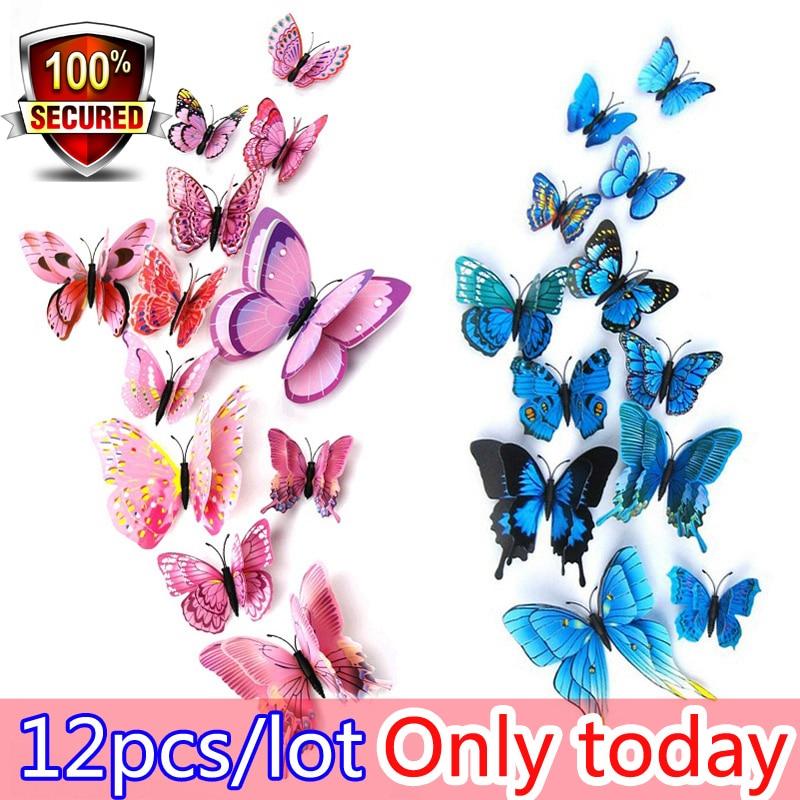 Hot sale 12st / väska 3D PVC Double Wing Butterfly Väggdekaler Hem - Heminredning - Foto 6