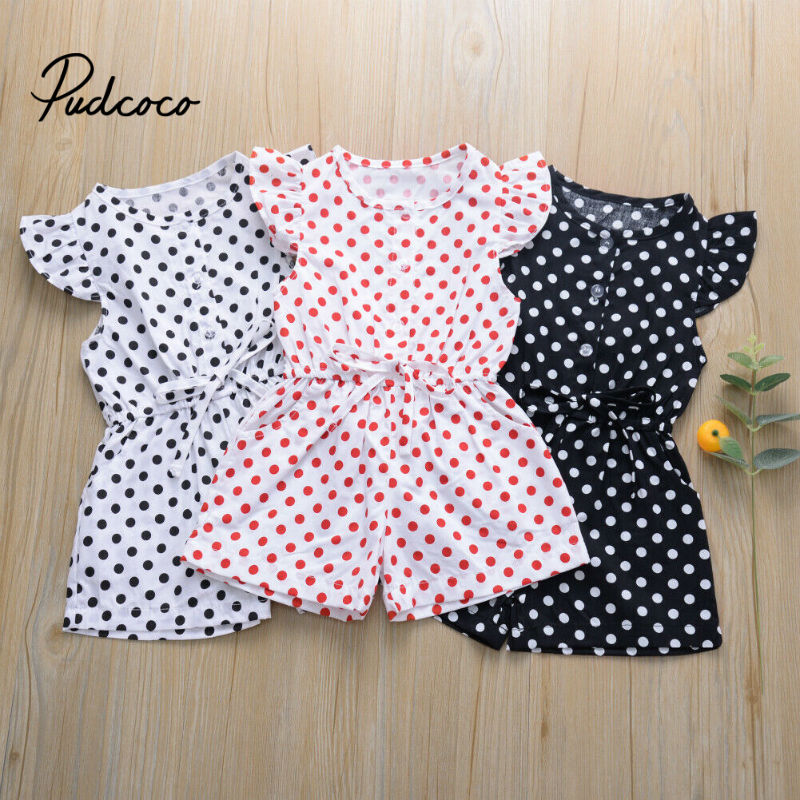 Kids Girls Dot Print Short Sleeve Sweet Jumpsuit Bodysuit Baby Kids Children Casual Outfits Clothes Playsuit 80-120 Size Summer