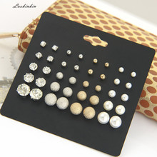 20 pairs pearl earnails and six-claw zircon stud earrings 20