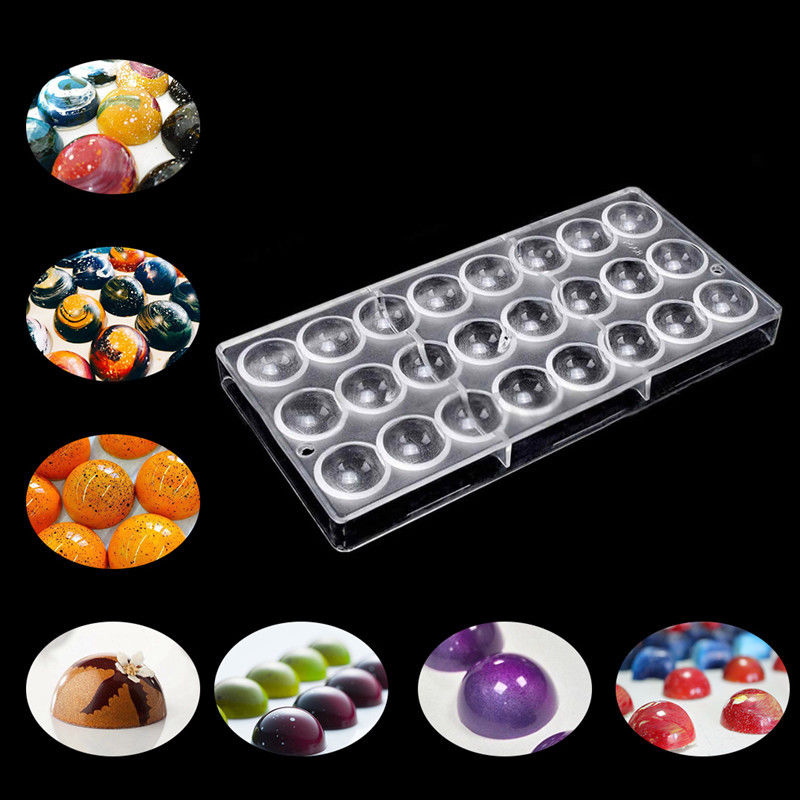 Clear Hard Chocolate Maker PC DIY 24 Half Ball Candy Mold Mould Bakeware Tools YU-Home image