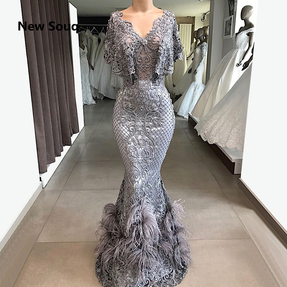 Gorgeous Lace Mermaid   Evening     Dresses   With Feather Saudi Arabic   Evening   Gowns Floor Length Long Prom   Dress   Robe De Soiree
