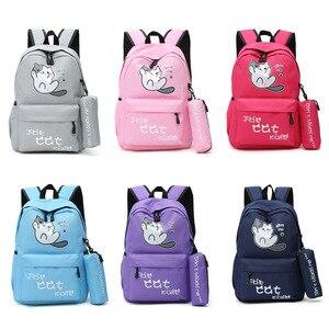 Image 2 - Oyixinger öğrenciler kız çocuk okul çantası kampüs tarzı sevimli kedi çocuk sırt çantası Schoolbag naylon sırt çantası karikatür sırt çantası Mochila Feminina