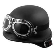 Stile Vintage Unisex Casco Del Motociclo Nero Mezza Motocross Occhiali di Protezione UV per Biker e Scooter Moto Ingranaggi di Protezione