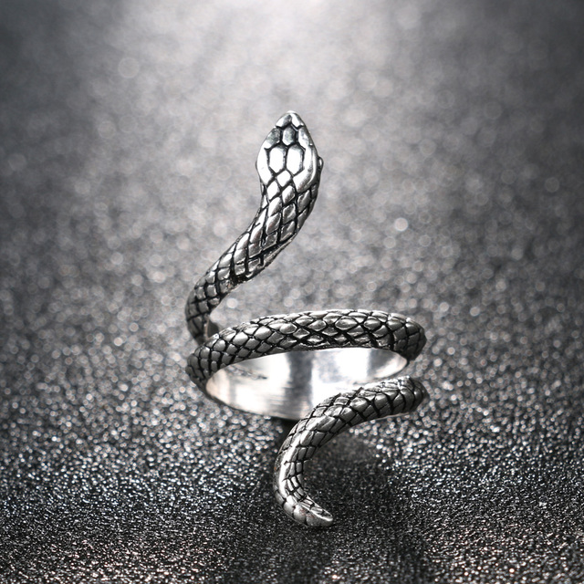 Wholesale Fashion Snake Rings For Women Color Silver Heavy Metals Punk Rock Ring Vintage Animal Jewelry 5