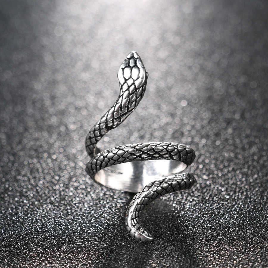الجملة موضة الأفعى خواتم للنساء لون الفضة المعادن الثقيلة الشرير الصخرة خاتم خمر مجوهرات بأشكال حيوانات