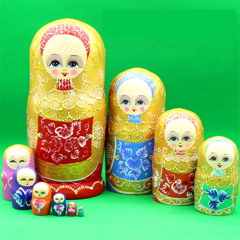 Colorful 10 Layer Russian Dolls hand-painted handicraft Matryoshka Wood formaldehydeless Heathy Wooden Ethnic Education Toy L45