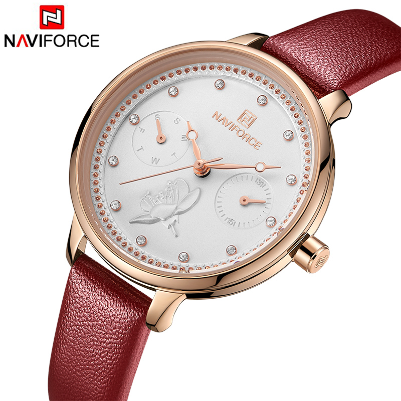 NAVIFORCE Watch Women Fashion Simple Quartz Watches Ladies Thin Leather Casual Female Wrist Watch Girl Clock Relogio Feminino