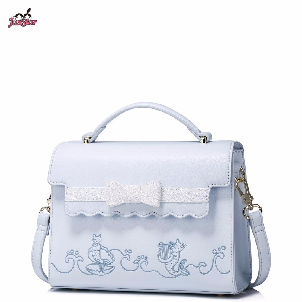 Just Star Brand New Design Fashion Embroidery Bow PU Women Leather Girls Ladies Handbag Shoulder Bag Cross body Flap Bags