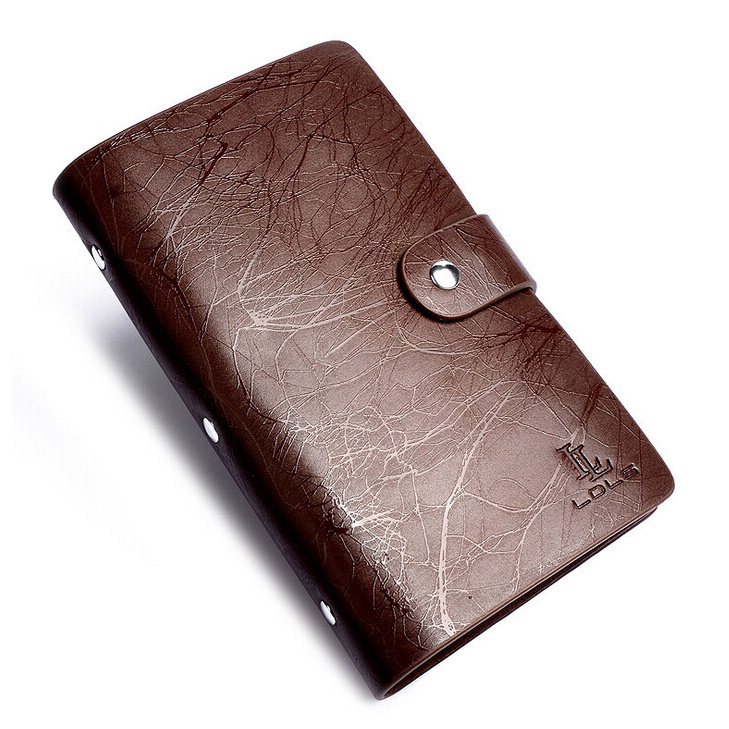 Fashion 96 Slots Men Business Cards Holders Genuine Leather ...