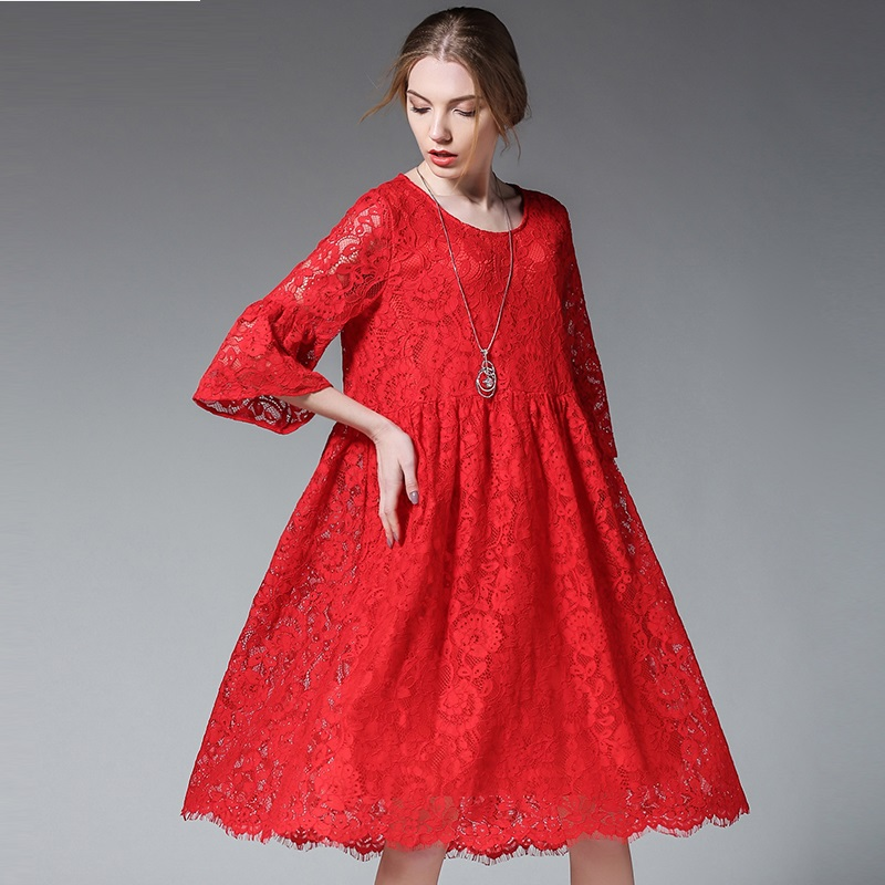Us 3445 34 Off2017summer Female Plus Size Elegant Loose Fit Lace Dress Empire Flare Dress Beautiful Dress Temperament Vestidos Tunic Xxxxl6365 In