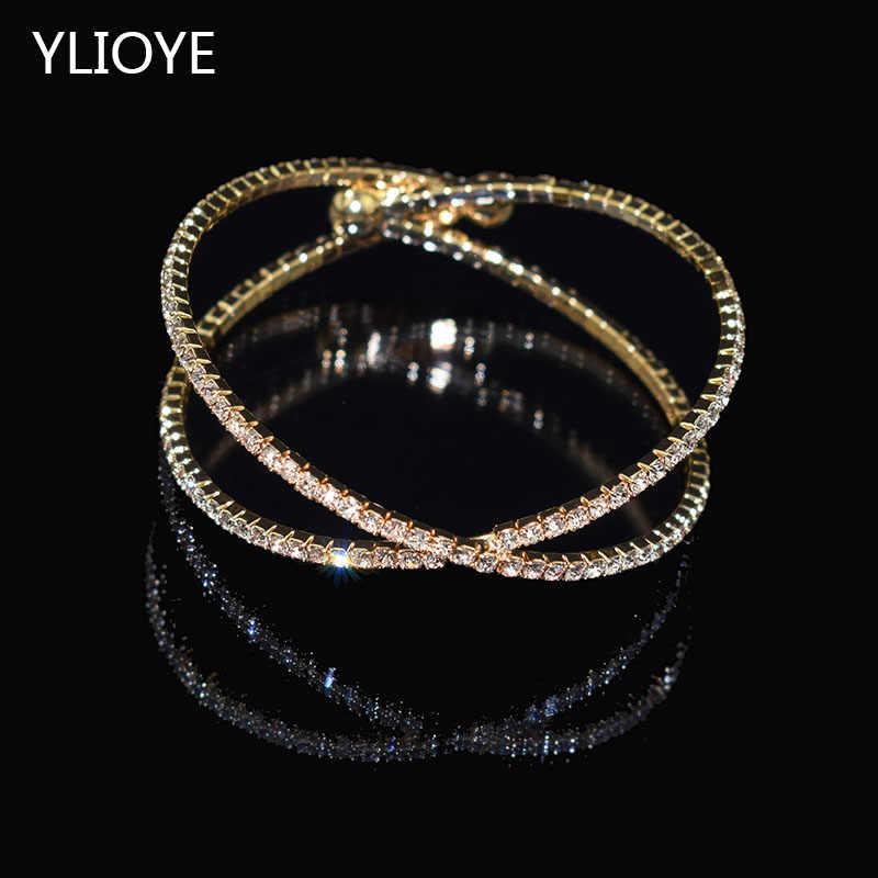 Elegan Deluxe Perak Rhinestone Kristal Gelang Golden Kerawang Perhiasan Gelang untuk Wanita Gelang Gadis Hadiah
