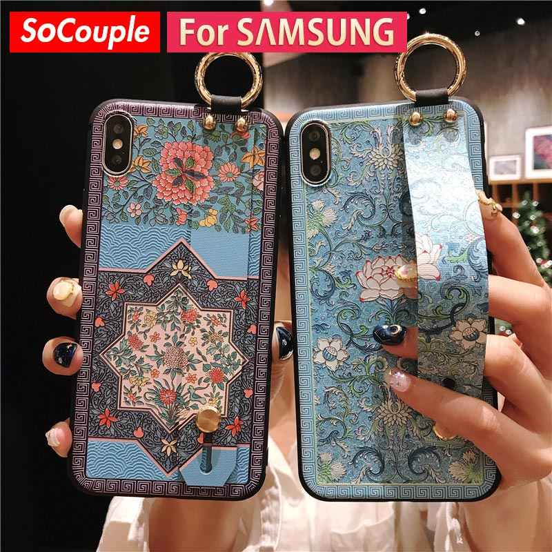 SoCouple For Samsung Galaxy S8 S9 S10 plus S10e Note 8 Note 9 Case Soft TPU Silicone Wrist Strap Phone Case Finger Ring Cover