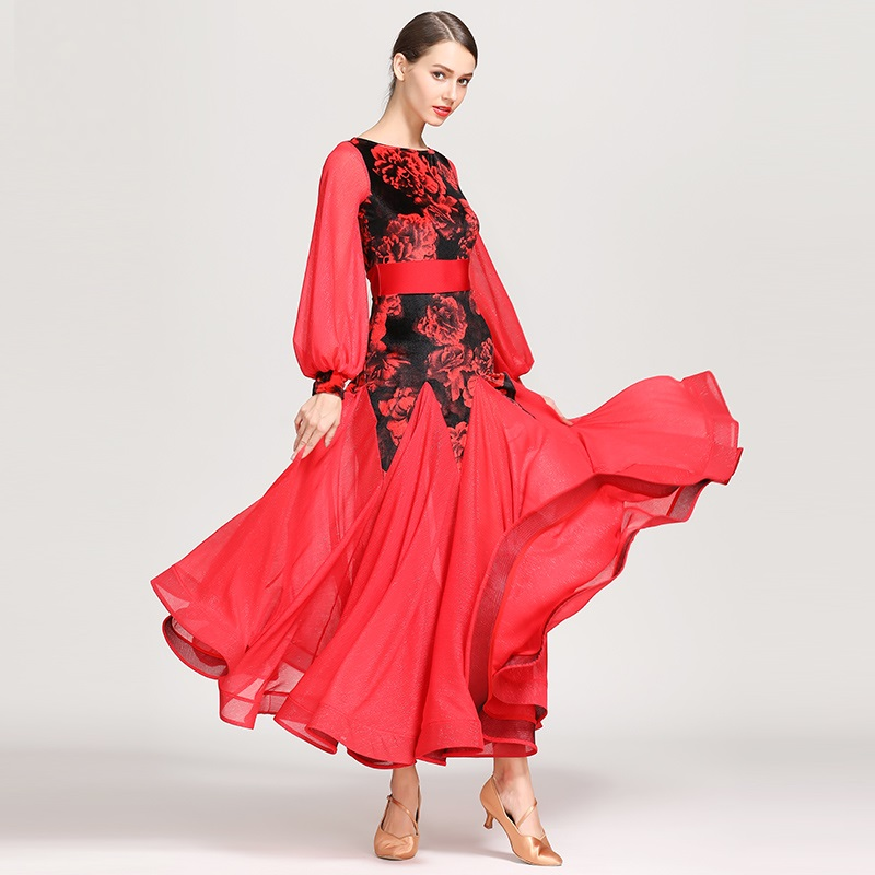 Standard Ballroom Dress Fringe Women Dance Dresses Tango Red Ballroom Competition Dresses Waltz Costumes Flamenco Dress