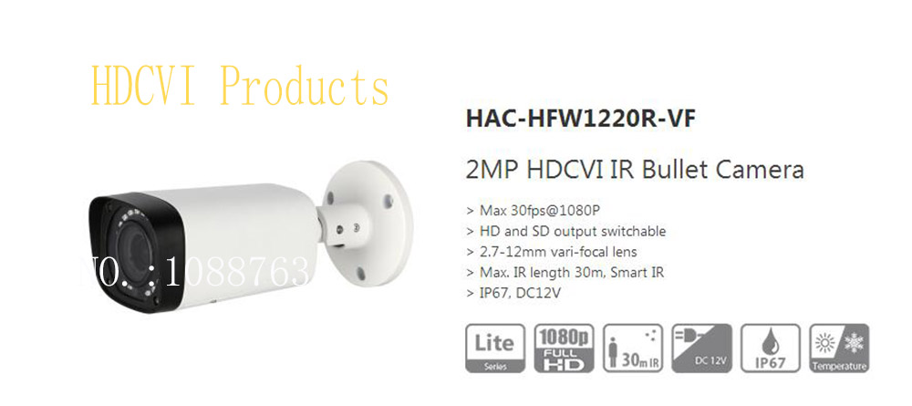 Free Shipping DAHUA CCTV Outdoor Camera 2MP HDCVI IR Bullet Camera IP67 Without Logo HAC-HFW1220R-VF free shipping dahua cctv outdoor camera 2mp hdcvi ir bullet camera ip67 without logo hac hfw1220r vf ire6