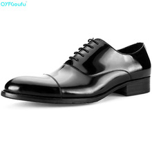 Formal Mens Genuine Leather Dress Shoes High Quality Italian Handmade Luxury Designers Vintage Finger Cap Oxford